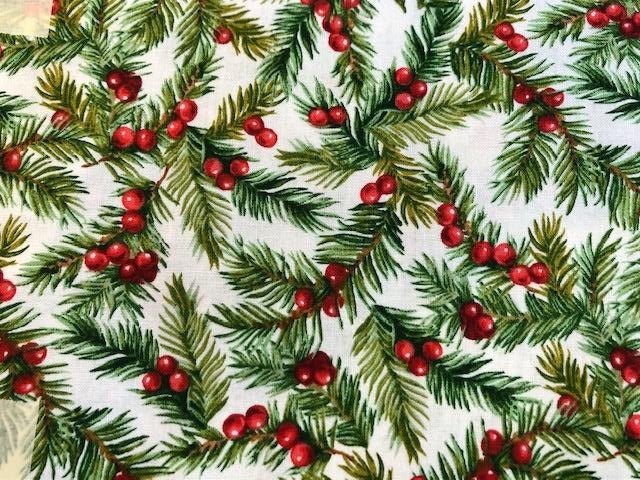 Quilting Cotton - red berry evergreen Christmas - 1/2 meter