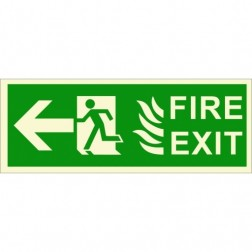 Infernocart Fire Exit Left Side Sign Board - Set of 5