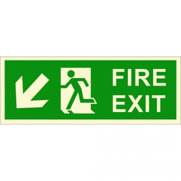 Infernocart Fire Exit Down Left Side Sign Board - Set of 5