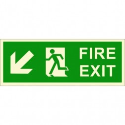 Infernocart Fire Exit Down Left Side Sign Board Quantity 5