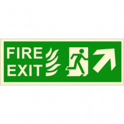 Infernocart Fire Exit Upper Right Side Sign Board - Set of 5