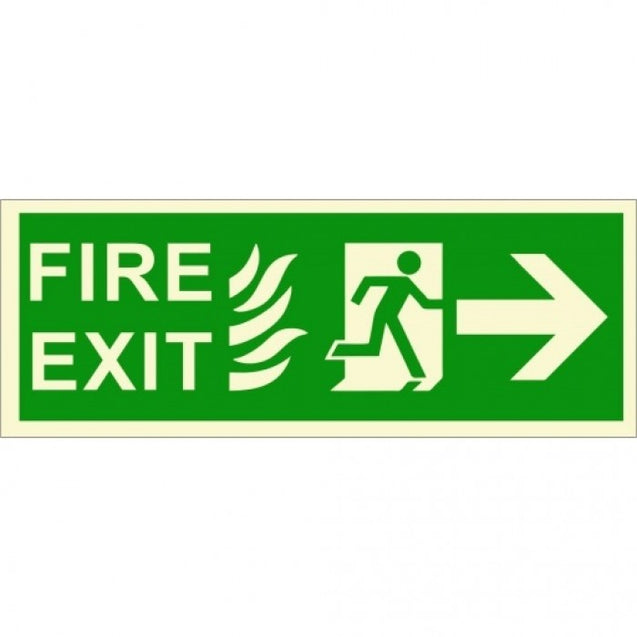 Infernocart Fire Exit Rightside Down Stairs Sign Board - Set of 5