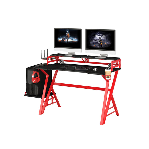 DELUXE GAMING DESK WITH DUAL MONITOR STAND