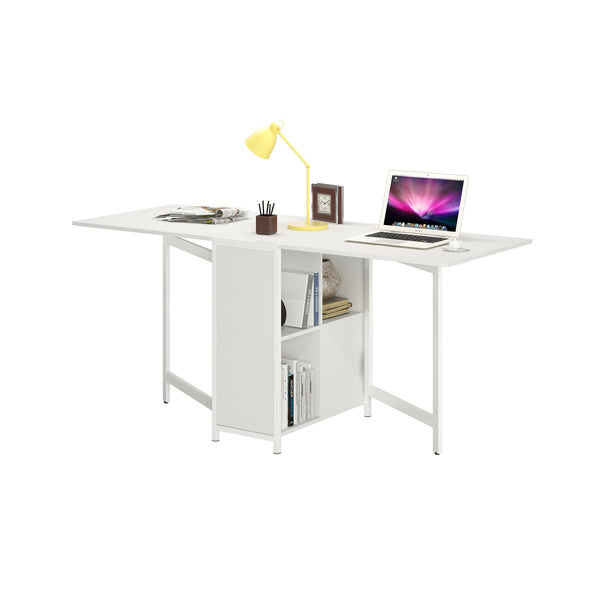 DELUXE HOME OFFICE DUAL DROP-LEAF DESK W/ STORAGE
