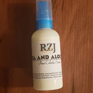 Shea and Aloe lotion in a pump style bottle