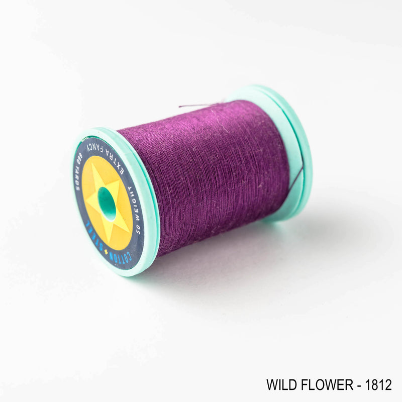 Sewing thread - crimson + purple shades