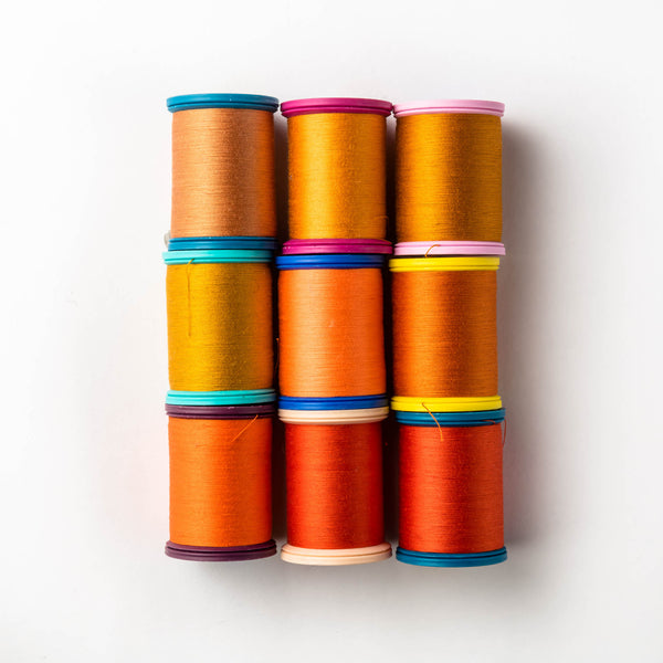 Sewing thread - orange + gold + ginger shades