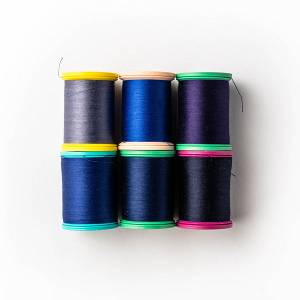 Sewing thread - navy and inky purple shades