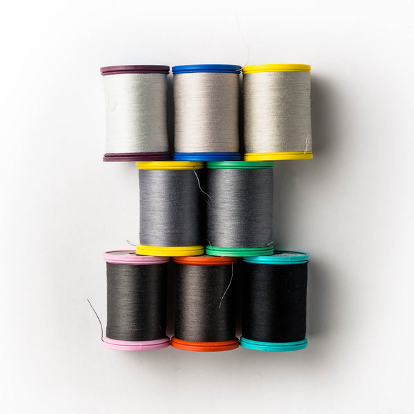 Sewing thread - grey + black shades