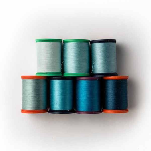 Sewing thread - green + teal shades