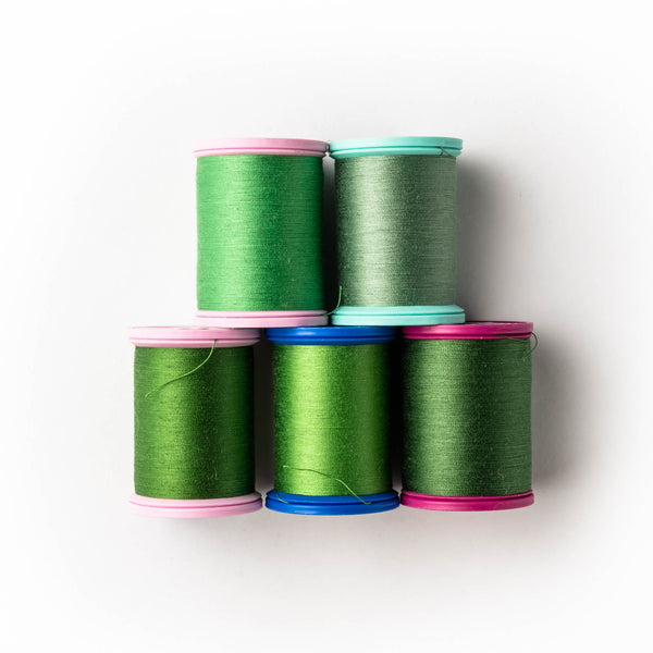 Sewing thread - green shades
