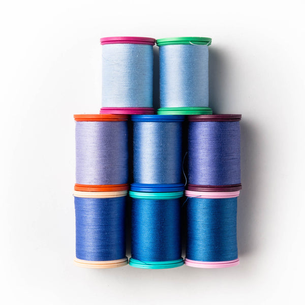 Sewing thread - blue + periwinkle shades