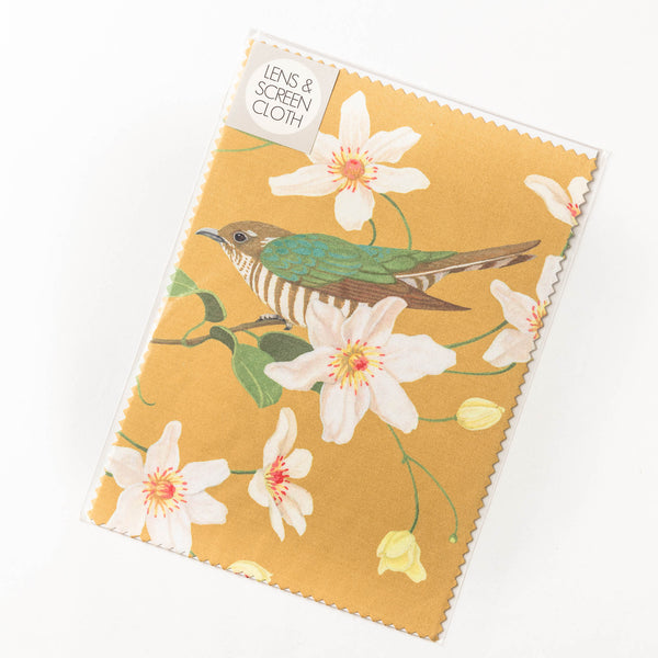 Lens cloth - shining cuckoo & clematis
