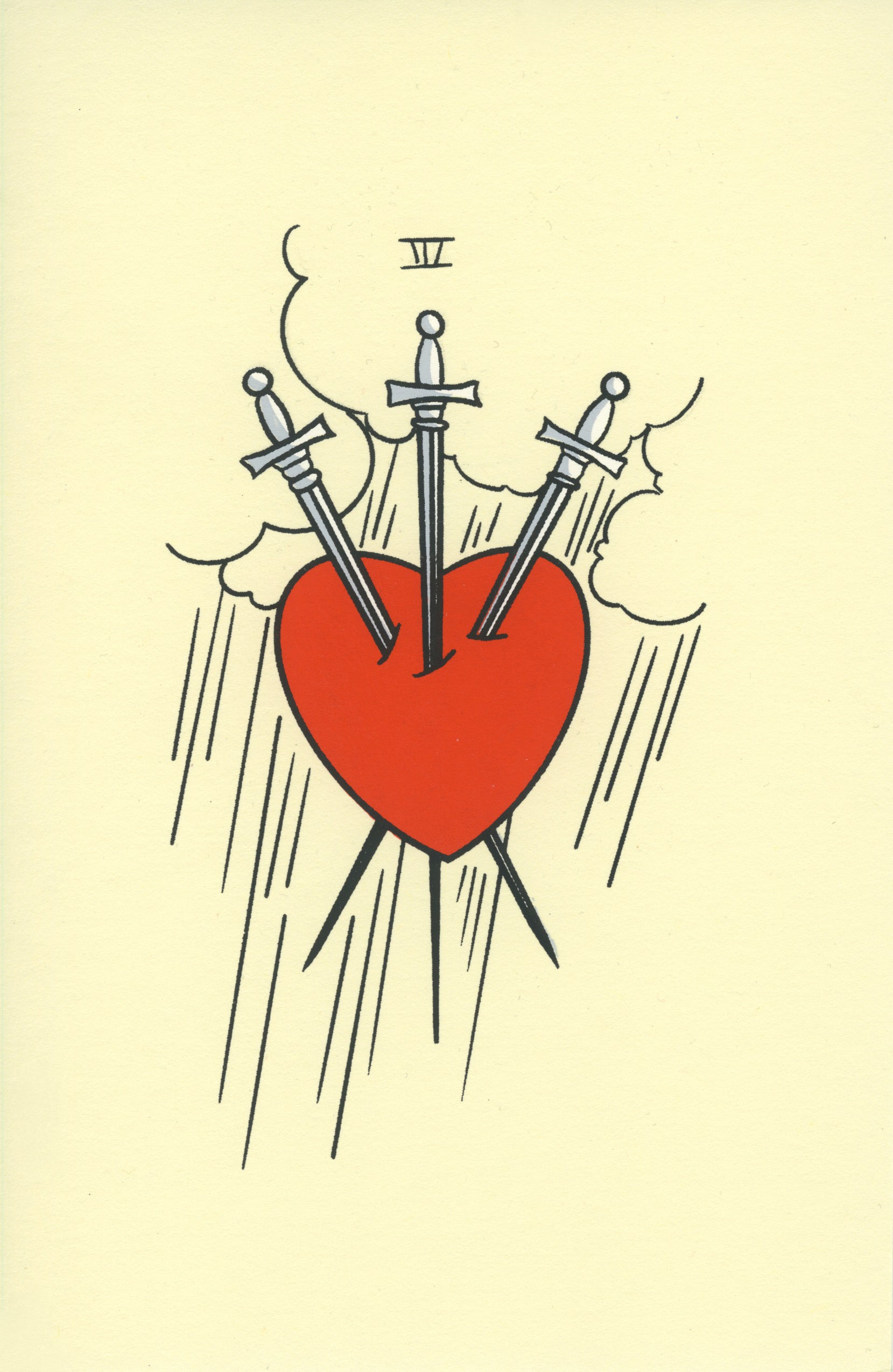 A cream colored piece of paper with a line drawing of a red heart being pierced by three swords.