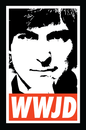 "A black and white depiction of Steve Jobs with the letters ""W W J D"" inside a red box below it."