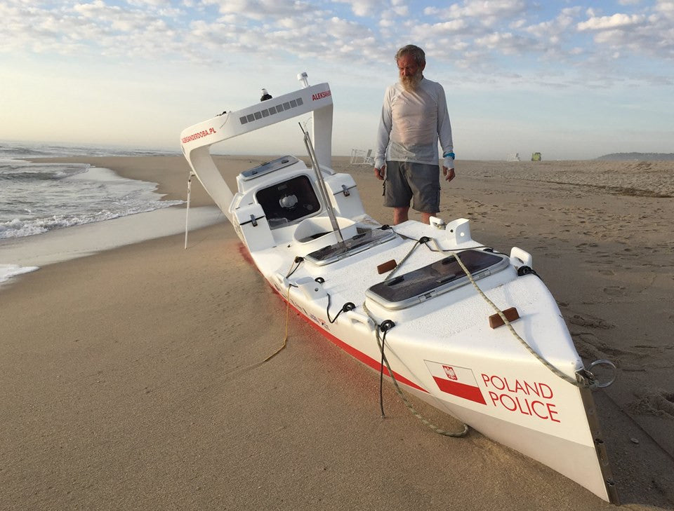 End of Aleksander Doba's third transatlantic kayak expedition
