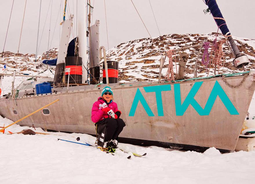 Vanessa Francois infront of her boat Atka