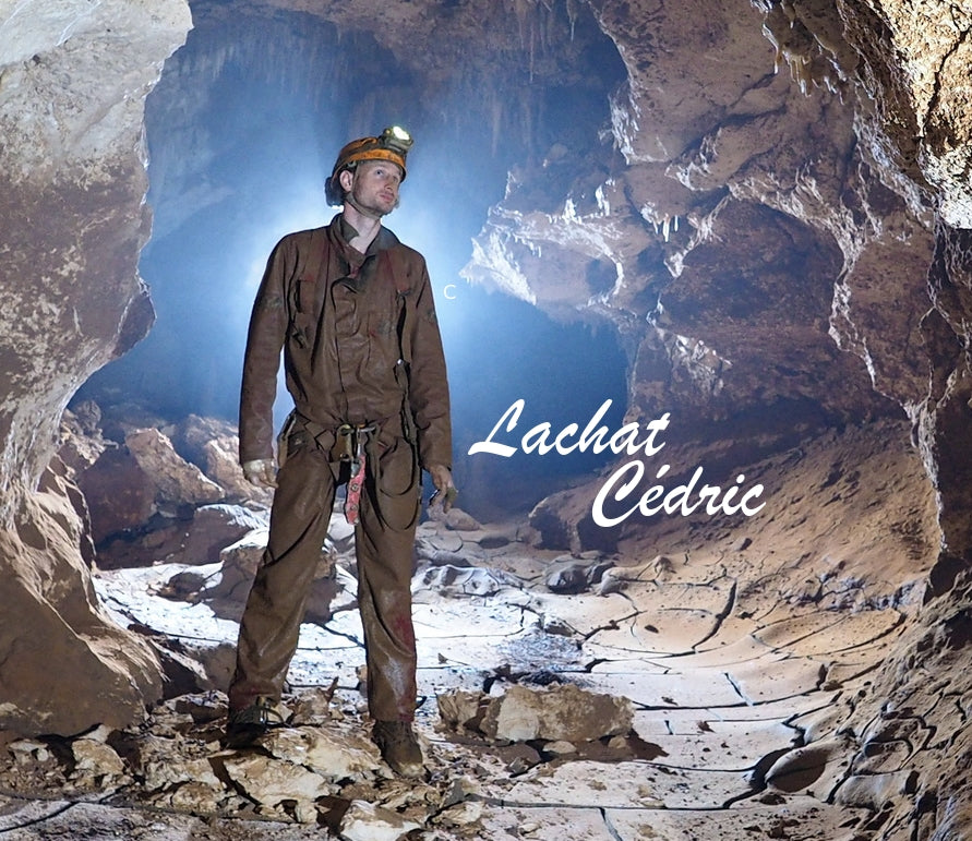 Cédric Lachat in a cave