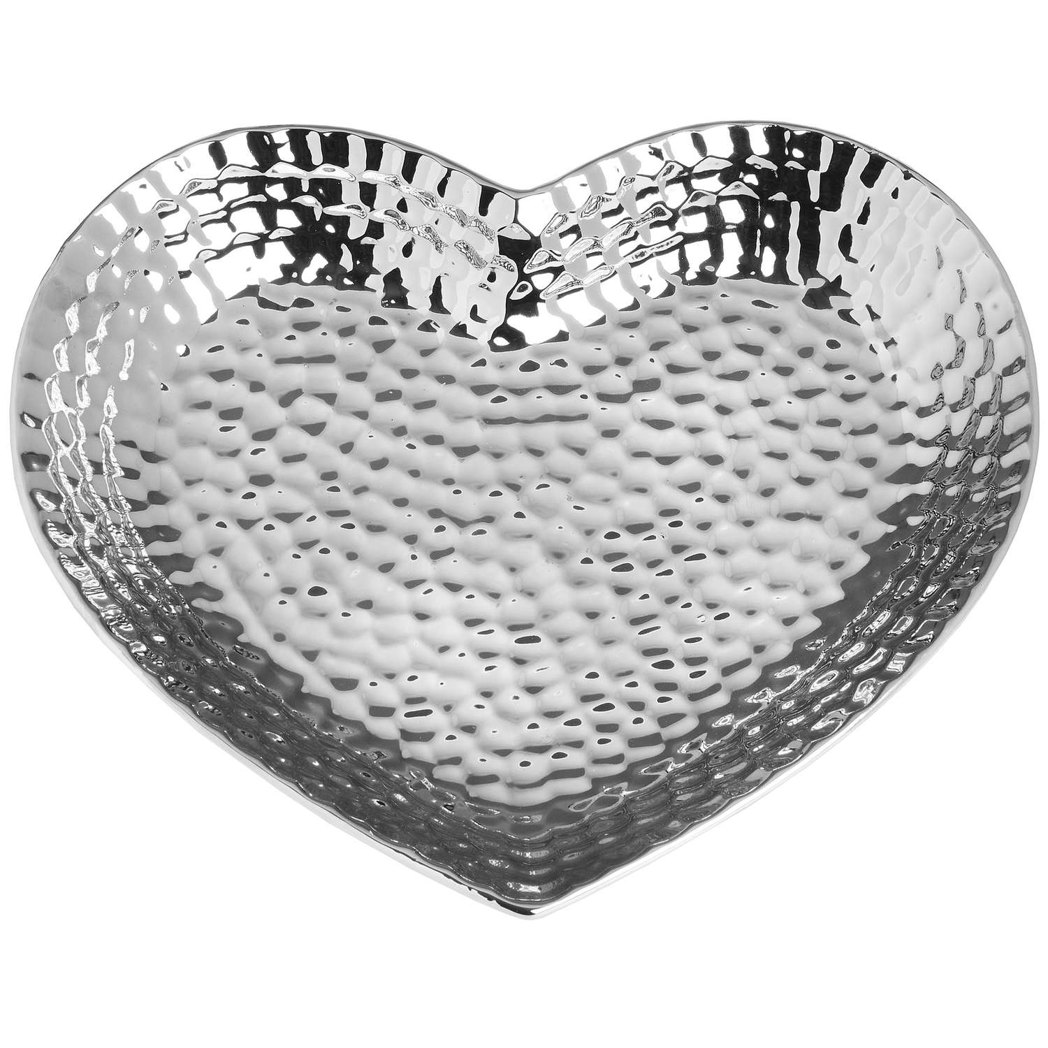 Large Heart Silver Ceramic Dish