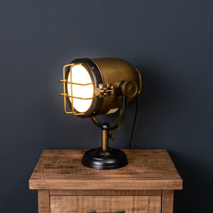Black and Brass Industrial Spotlight Table Lamp