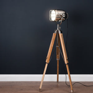Nickel Industrial Spotlight Tripod Lamp