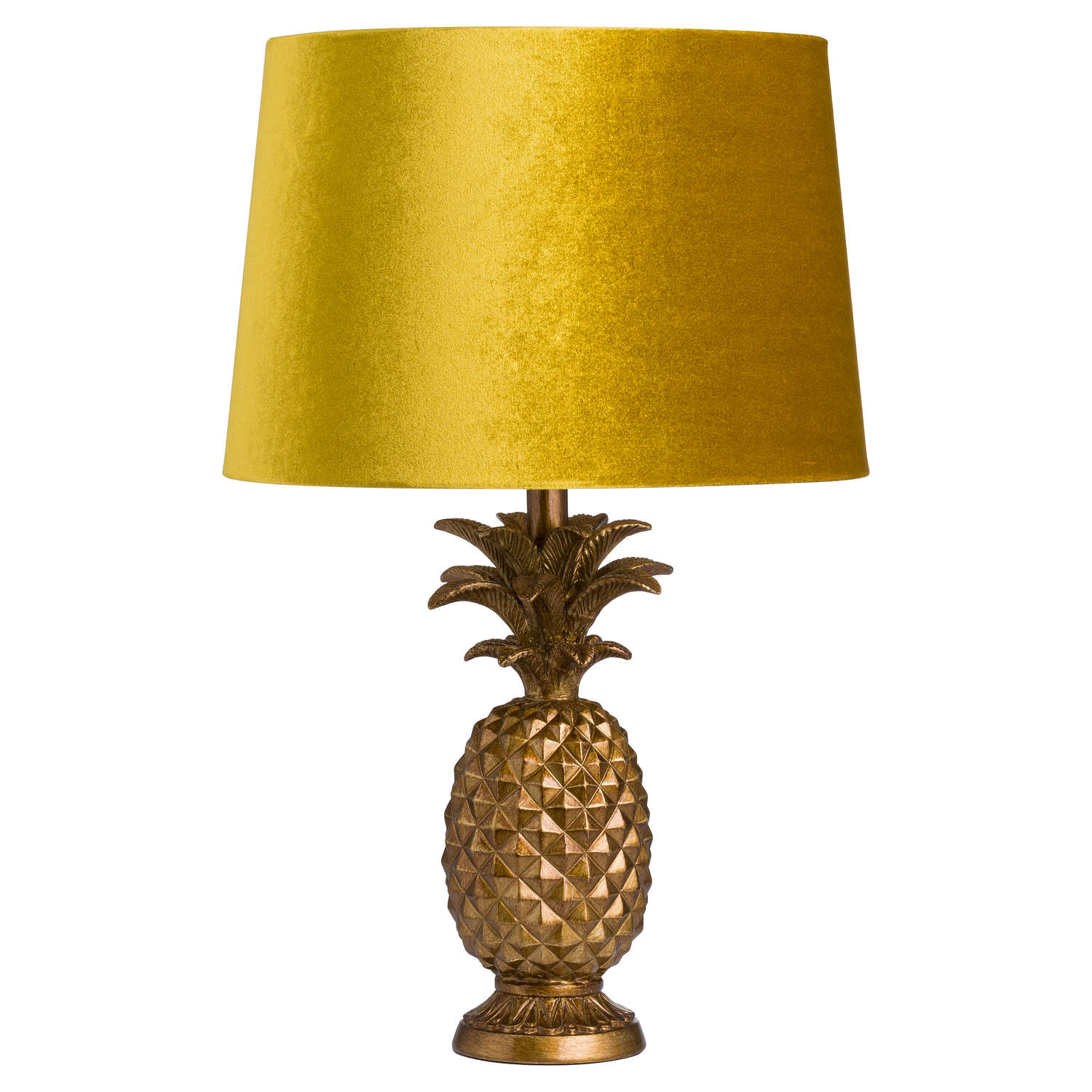 Antique Gold Pineapple Table Lamp with Mustard Velvet Shade