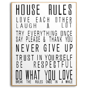 Large Glass House Rules Wall Art