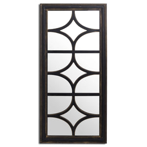 Diamond Effect Large Black Distressed Wall Mirror