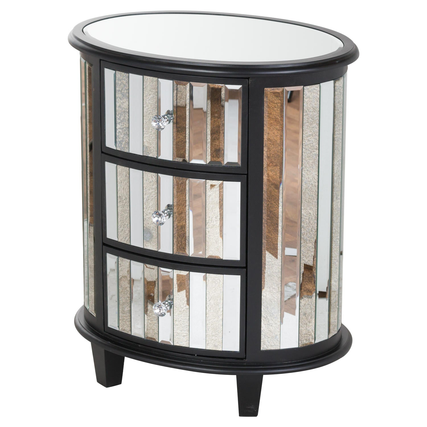 The Soho Black Mirror Collection Oval 3 Drawer Unit