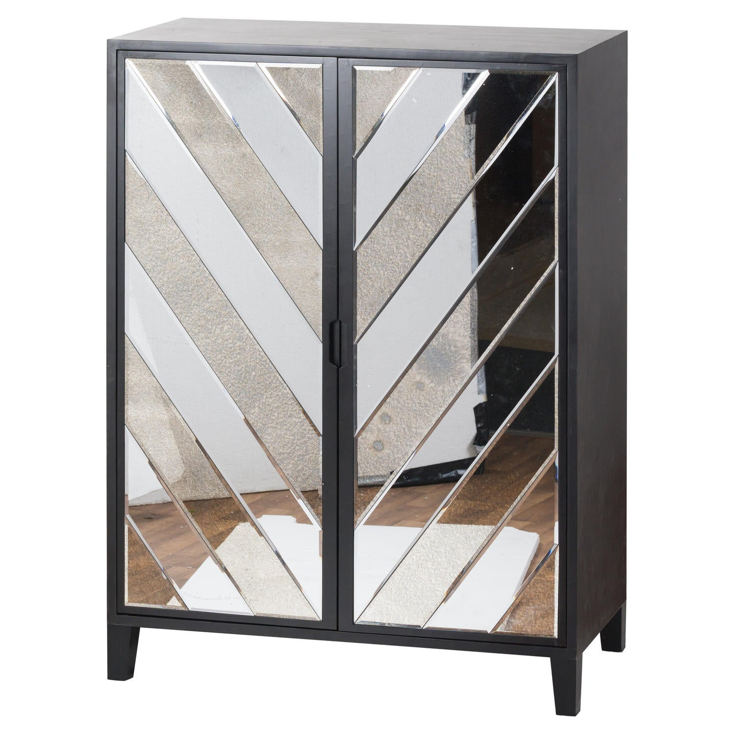 The Soho Black Mirror Collection Large 2 Door Bar