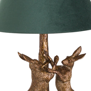 Antique Gold Marching Hare Lamp with Green Velvet Shade