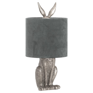 Silver Hare Table Lamp with Grey Velvet Shade