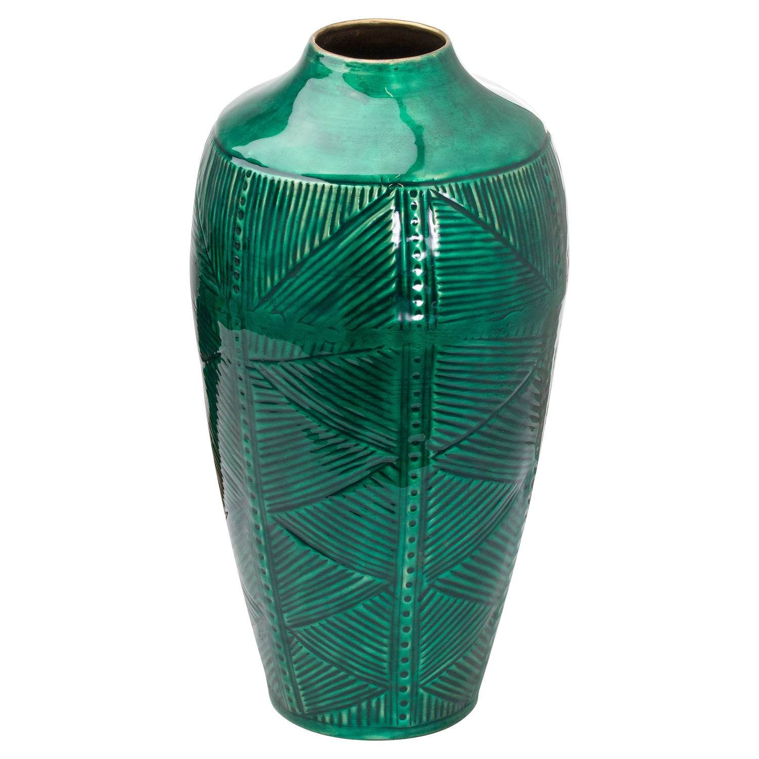 Aztec Collection Brass Embossed Ceramic Dipped Vase