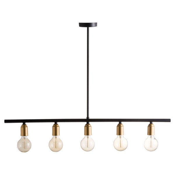 Black & Brass Industrial Five Bulb Bar Light