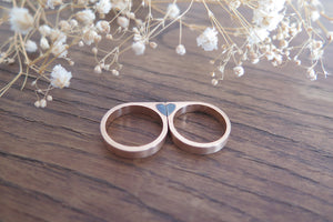 Heart wedding bands