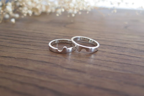 Yin Yang wedding band rings