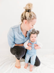 LEOPARD PRINT BOW & SCRUNCHIE SET - WIDE BAND