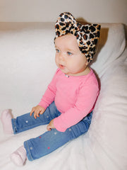LEOPARD BOW HEADBAND - BLACK BOWTIE