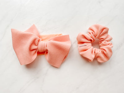 DIVA BOW & SCRUNCHIE SET, NYLON BAND - EVERYTHING IS PEACHY