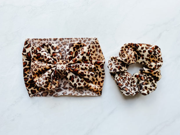 CHEETAH PRINT - BOW & SCRUNCHIE SET