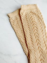 Knitted Knee-High Socks - Apricot