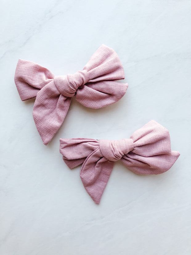 Dusty Rose Linen - Clip Set of 2