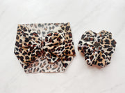 LEOPARD BOW HEADBAND - BLACK ROUNDED