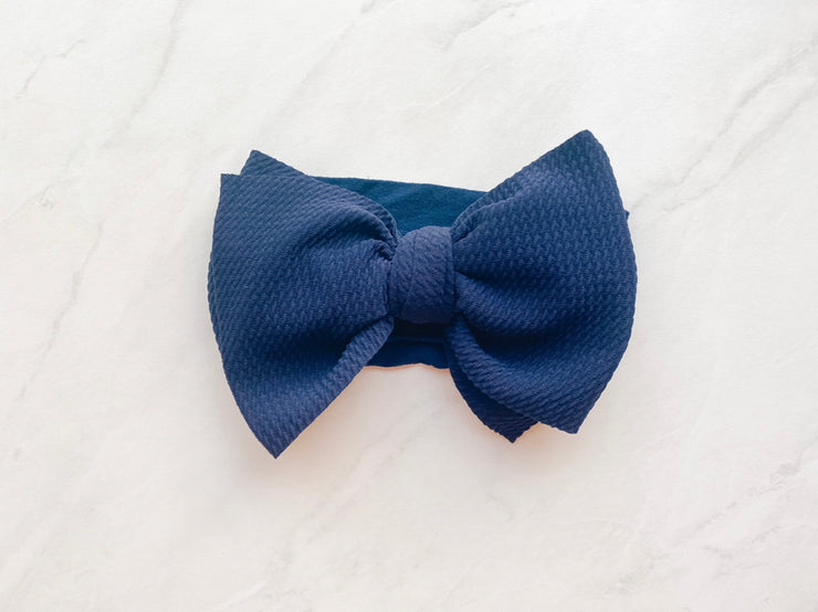 DIVA WAFFLE BOW ON NYLON BAND - MIDNIGHT BLUE