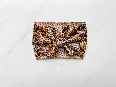 CHEETAH BOW HEADBAND - BROWN