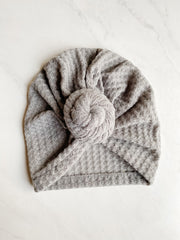 Soft Knit Topknot Hat