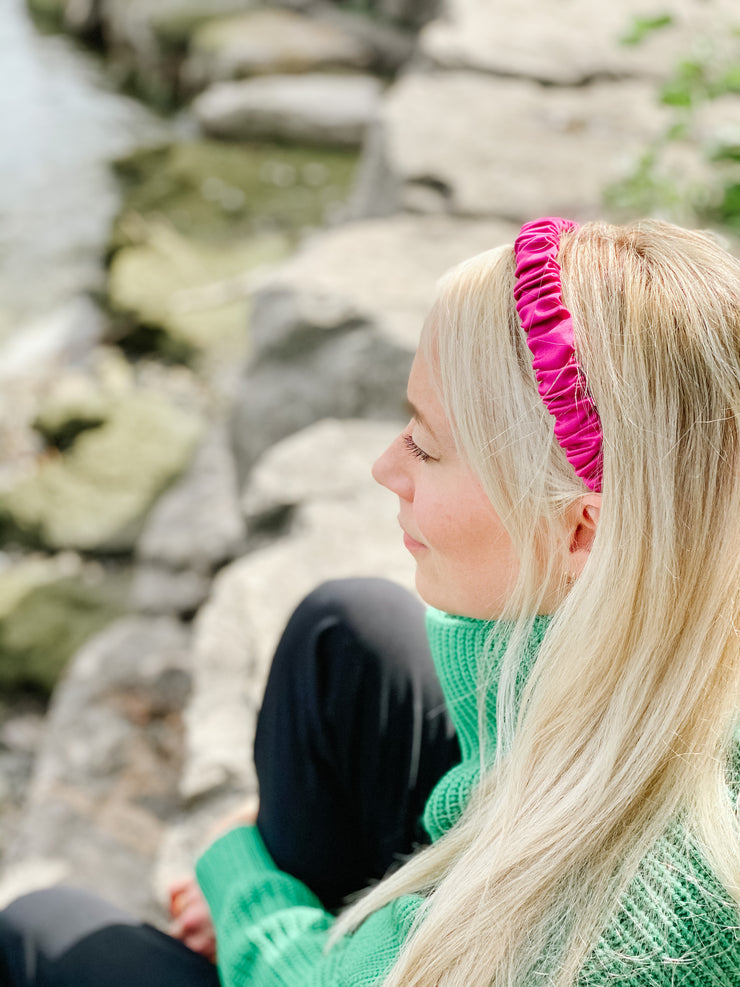 Iced Fuchsia Satin - Scrunchie Headband