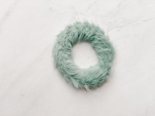 MINI FAUX-FUR SCRUNCHIE, TEAL