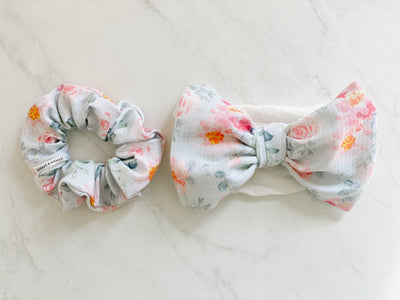 DIVA BOW & SCRUNCHIE SET, NYLON BAND - SOFT FLORAL