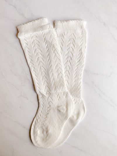Knitted Knee-High Socks - Linen